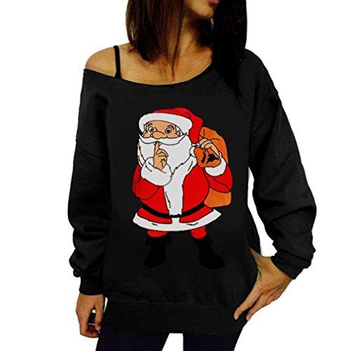 Crochet Detail Knit Kleid (OVERDOSE Weihnachten Pullover Frauen Gedruckt Brief Weihnachten Langarm Sweatshirt Pullover Tops Bluse Shirt(XL,A-Schwarz))