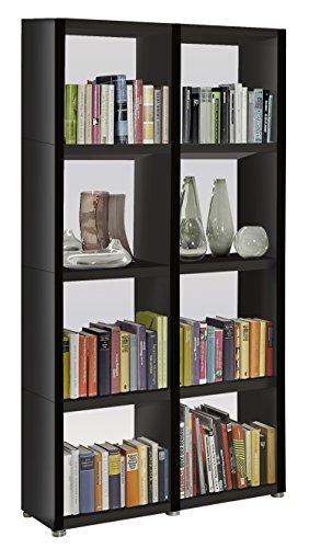 Bücherregal Raumteiler READY 42R in Schwarz mit Rückwand in Alpineweiß