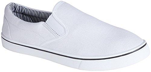 Hombre Sin Cordones Lona Zapatos De Verano - Blanco, hombre, 30 EU