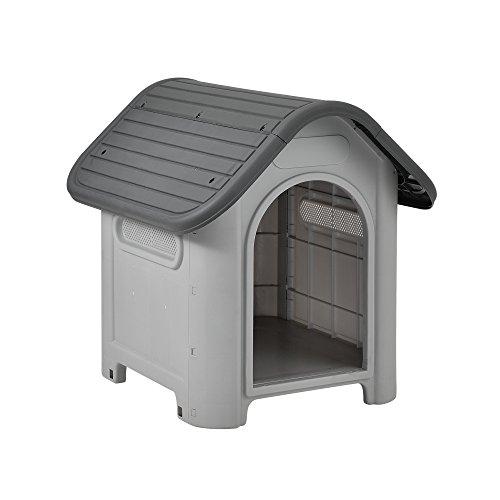 [en.casa] Caseta perros plástico - gris / negro -