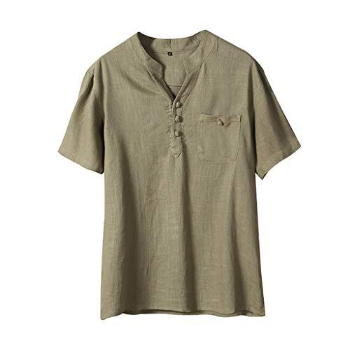 Amfirst Herren Slim Fit Hemden Poloshirts Herren-Sweatshirts Oversize Herren Sommer Ethnischen Stil Baumwolle Leinen Reine Farbe Kurzarm T-Shirts Tops