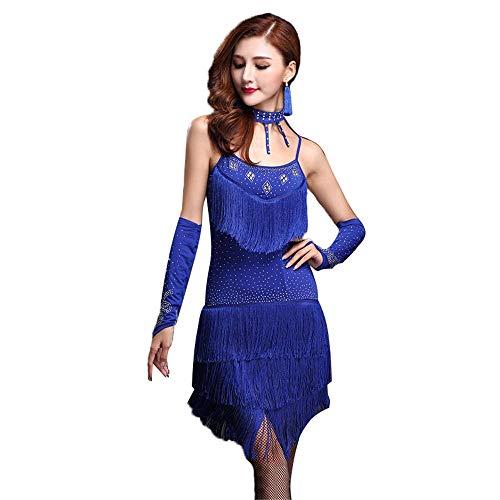 Frauen tanzen Kleider Frauen Ärmellos Perlen Quasten Latin Dance Kleid mit Shorts Outfit Flapper Dance Kleider Kostüme Rumba Chacha Tango Ballsaal Performance Dancewear ( Farbe : Blau , Größe : L )