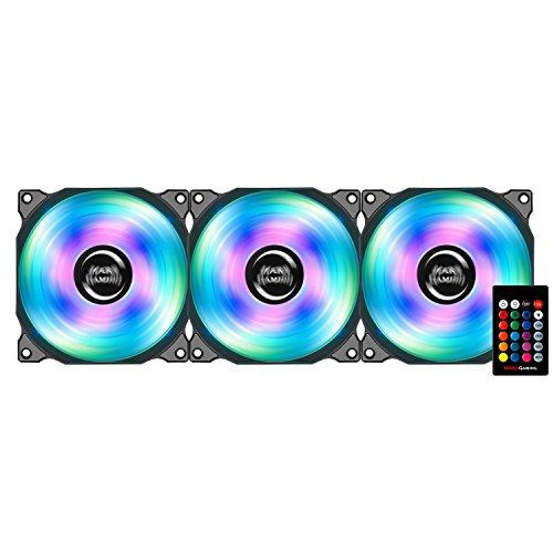 Mars Gaming MFRGB KIT - Pack 3 Ventiladores con iluminación RGB para ordenador (13 aspas, iluminación LED 4 efectos, mando a distancia, rodamientos hidráulicos, 60.000 horas, silenciosos), negro