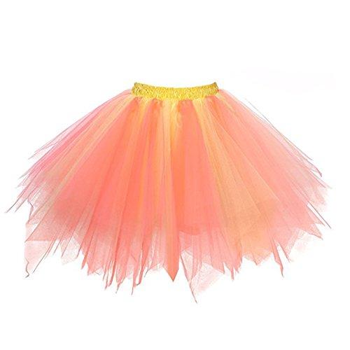 ticoat Crinolines Tutu Ballett Blase Kurze Röcke Tüll Rock Cheerleader Kostüm (Orange + Gelb) (Gelbe Cheerleader-outfit)