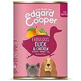 Edgard & Cooper | Pato y Pollo con plátano, Mango y Guisantes | Comida húmeda para Cachorros | Prebióticos para una digestión Saludable | Sin Cereales | Carne Fresca | 6 latas de 400 g.
