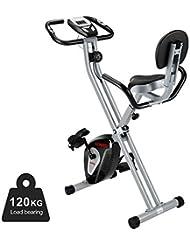 ENKEEO Heimtrainer Klappbar Fitnessbike Profi X-Bike 120kg Belastung mit Rücken- & Armlehnen, 8 Widerstandsstufen Magnetischer Fahrradtrainer Indoor Cycle, Schwarz