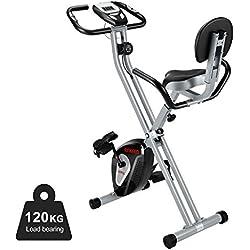 ENKEEO F-Bike Vélo d'Appartement Pliable avec Ecran LED et 8 Niveaux de Résistance 116 x 69 x 42 cm