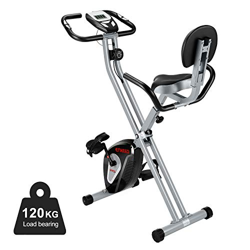 ENKEEO Heimtrainer Klappbar Fitnessbike Profi X-Bike 120kg Belastung mit Rücken- & Armlehnen, 8 Widerstandsstufen Magnetischer Fahrradtrainer Indoor Cycle, Schwarz (Fahrrad Training)