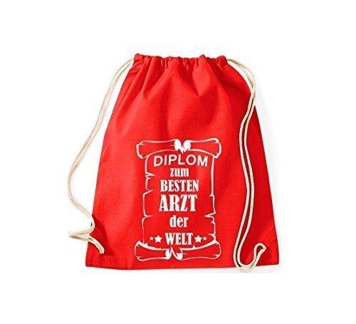 Shirtstown Borse palestra Diploma ad un migliore Medico mondo - Nero, 37 cm x 46 cm rosso