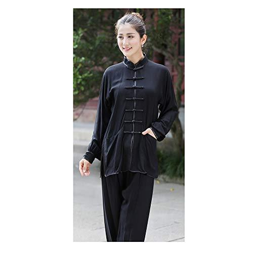 Tai Chi Anzug Baumwolle Und Leinen Kung Fu Shirt Männer Und Frauen Am Morgen üben Chinesische Kleidung,Women'sBlack-L
