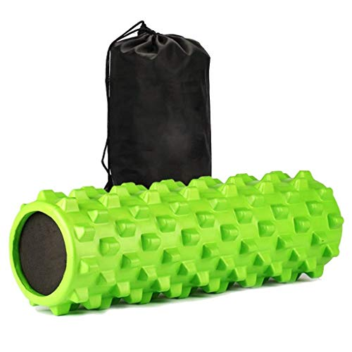 "LMXQQ Muscle Foam Roller - Massage Roller, Physiotherapie, Übung mit hoher Dichte Deep Tissue Pressure Point Behandlung Texture Massager 18"" (Color : Green)"