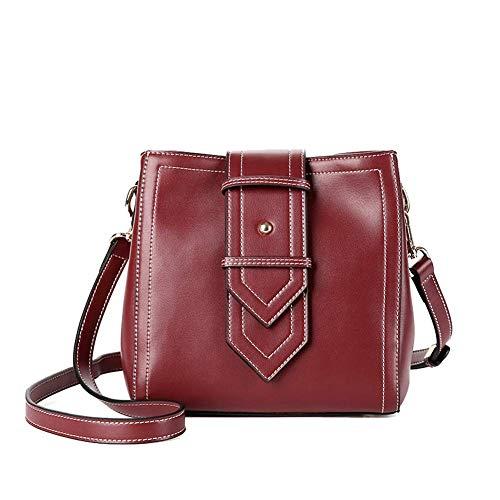 YUNY Damen Umhängetasche, Mode Leder Damen Tasche Eimer Tasche Breite Schultergurt Europa und Amerika Einfache Umhängetasche Messenger Lady Bag