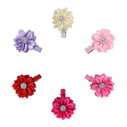 HABI 12 stk mehrfarbig Haarspange Blume geformt Haarklammer mit Strass Fliege Schleife für Mädchen