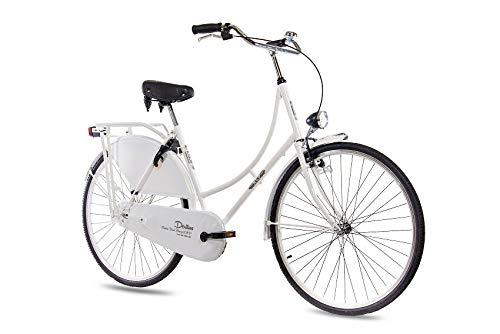 KCP 28 Zoll Citybike Damen Hollandrad - Deritus 1G Weiss - Damen City-Fahrrad im Retro-Design, Vintage Damenfahrrad mit Rücktrittbremse und praktischem Gepäckträger, bequemtes Cityrad für Frauen