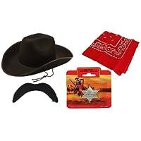 Sceriffo da Cowboy per adulti, 4 pezzi, wild west rodeo accessory Stetson-kit cappello, motivo: baffi, colore: nero, con bandana rossa e stemma da sceriffo