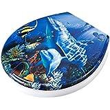 Adob 59844 Abattant de WC amovible en duroplast avec système d'abaissement automatique Motif dauphin