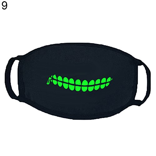 AchidistviQ Punk Zähnen Zähne Muster Soft Baumwolle Luminous Maske Winter Unisex Mouth-Muffle ()