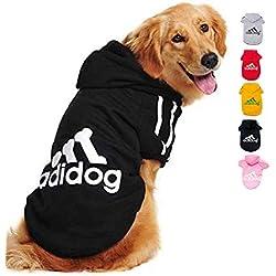 Ducomi Adidog - Sweatshirt pour Chiens avec Capuche en Coton Doux - Tailles Disponibles du XS au 8XL et Large Choix de Couleurs - Expédié Depuis France (5XL, Noir)