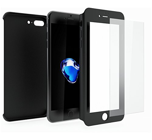 Funda iPhone 7 PLUS 360 Grados Integral Para Ambas Caras + Cristal Templado, Mobilyos [ 360 ° ] [ Negro ] Case, Cover, Carcasa, Funda iPhone 7 PLUS Integral