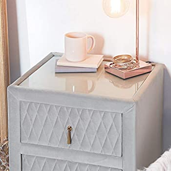 Beautify Grey Bedside Table Unit - Bedside Cabinet Night Stand - Quilted Velvet Bedroom Furniture 2 Drawers - Glass Top