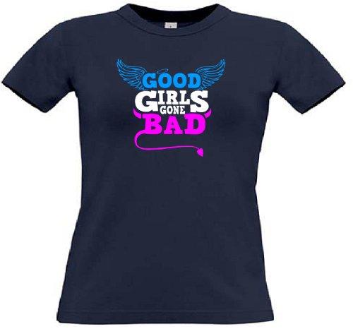 T-Shirt für den Junggesellinnenabschied mit dem Motiv Good Girls gone Bad Navy
