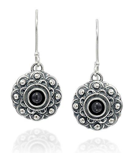 Stile antico fiore in onice nero orecchini in argento 925elegante gioielli da donna
