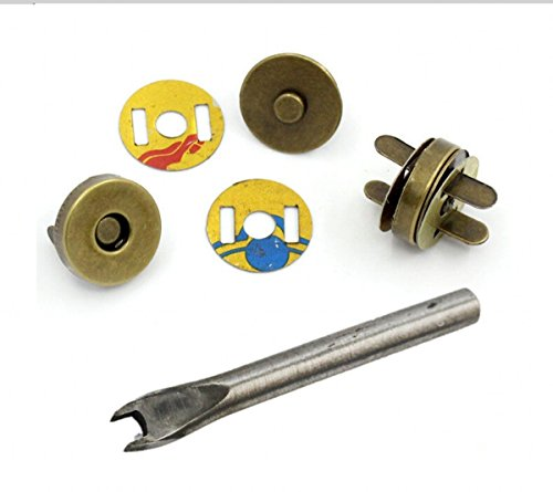 chengyida 30Sets 18mm/3/10,2cm Bronze Tone Magnetische Knöpfe Geldbörse Snap Verschlüsse/Schließung + Einbau Werkzeug für Handtasche - Magnetische Snaps Geldbörse Verschlüsse