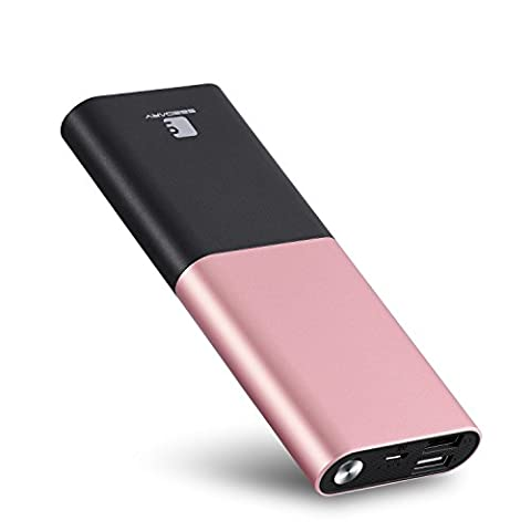 Power Bank Charger, Seedary 10000mAh Portable External Battery Powerbank Backup for Apple iPhone, Samsung Android Phones, Tablets, MP3 - Rose