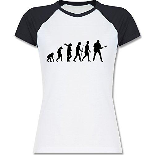 Shirtracer Evolution - Gitarrist Evolution - Zweifarbiges Baseballshirt/Raglan T-Shirt für Damen Weiß/Navy Blau