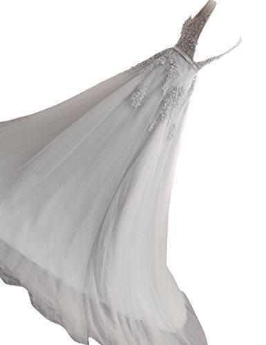 Changjie Donna lungo Abiti da ballo tulli Vestiti da partito di sera Abiti da sposa Grigio