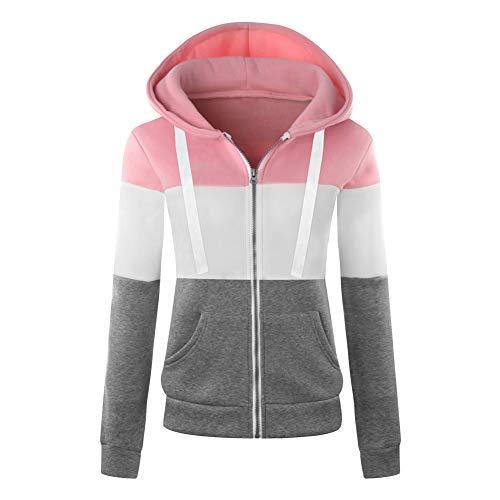 Newbestyle Jacke Damen Sweatjacke Hoodie Sweatshirt Pullover Oberteile Kapuzenpullover V Ausschnitt Patchwork Pulli mit Kordel und Zip (Rosa, 2X-Large) Rosa Zip