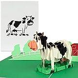 PaperCrush Pop-Up Karte Kindergeburtstag 'Kuh auf Bauernhof' [NEU!] - Lustige 3D Kinder Geburtstagskarte für Mädchen und Jungen, Glückwunschkarte zum Kinder-Geburtstag