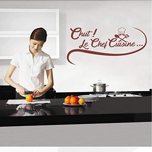 wmyzfs Aufkleber Französisch Chef Gourmet Vinyl Wandtattoo Removable Tapete Kunst Küche Fliesen Aufkleber Wohnkultur 40x75 cm -