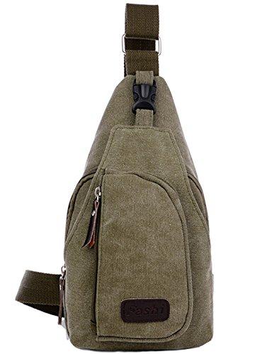 lemongirl Sling Brust Tasche für Herren Damen, Unisex Schulter Umhängetasche Rucksack für Reisen Wandern Camping Radfahren Mini Adult Handtasche Rucksack One Size grün