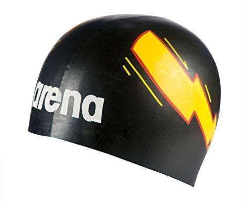 Arena Poolish Moulded, Cuffia Unisex - Adulto, Thunder Nero/Giallo, Taglia Unica