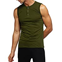 Beotyshow Mens Athletic Muscle Tanks Quick Dry Sleeveless Bodybuilding Wokrout T-Shirts Tops Army Green