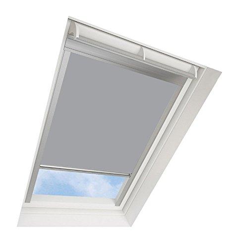 Darkona ® Dachfensterrollo für VELUX-Dachfenster - Verdunkelungsrollo - Zahlreiche Farben/Zahlreiche Größen (FK06, Grau) - Silberner Aluminiumrahmen
