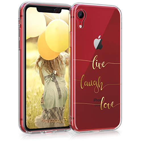 kwmobile Apple iPhone XR Hülle - Handyhülle für Apple iPhone XR - Handy Case in Gold Transparent - Transparent Phone Cover