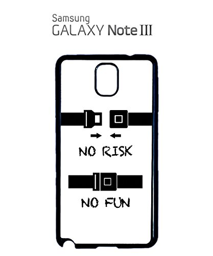 No Risk No Fun Seat Belt Safety Funny Belts Mobile Phone Case Samsung Galaxy S4 Black Blanc