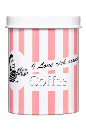 Premier Housewares 0507902 Scatola Metallica per Caffe, Striscia Rosa, I Love Rich Aroma
