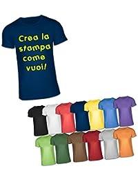 Camiseta con impresión personalizada texto, logo, manga corta, cuello redondo, azul
