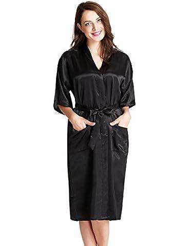 Aibrou Femmes satinée peignoir longue long robe Chemise de nuit