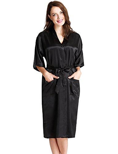 Aibrou Femmes satinée peignoir longue long robe Chemise de nuit chambre kimono coquet et féminin nuisette confortable Satin un goût Japon (Noir,XL )