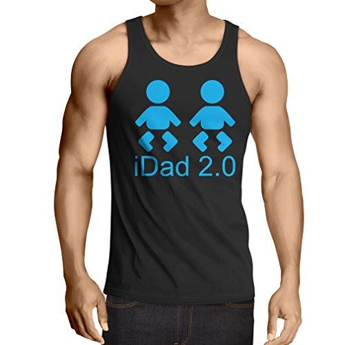 Canottiera da uomo senza maniche IDAD 2 Best Dad sempre regali per lui papà regali migliore trofeo padre Nero Blu