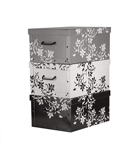 BigDean Aufbewahrungsboxen XXL 3er Set je 45 Liter - mit Deckel & Griffen - aus Stabiler Pappe Barock-Blumenmuster - perfekt für Ordnung im ganzen Haus