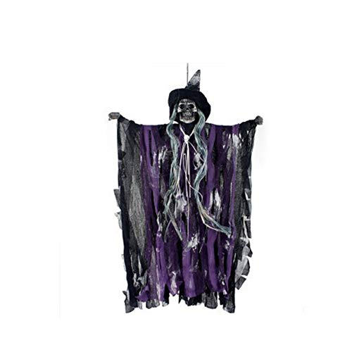 mi ji Atrezzo decoración de Halloween Esqueleto Animado Colgantes Fantasma de Control por Voz de Miedo Fantasma Spooky Esqueleto con LED Rojo Ojos de Sonido con Pilas para Halloween