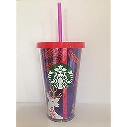 Starbucks - Taza de frío, edición Limitada de Navidad con Tapa roja y Pajita Rosa, 473 ML