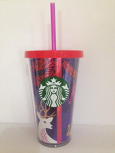 Starbucks Kalt Cup, Christmas Limited Edition mit Rotem Deckel und Pink Stroh, 473ml/16FL oz