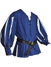 Mittelalter Landsknechthemd blau, Einsätze in weiß, Größen XS - XXXL