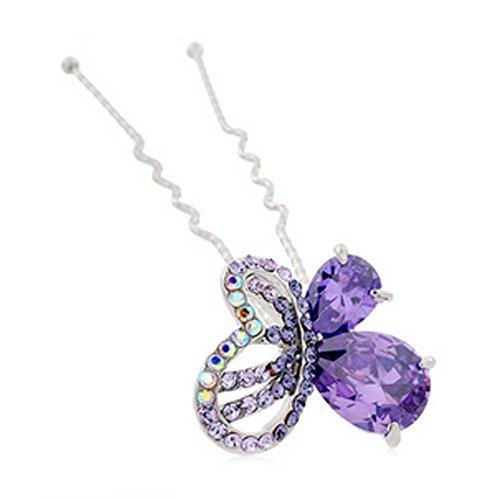 Papillon Noble Motif alliage diamant Lady cheveux ornements Hairpin